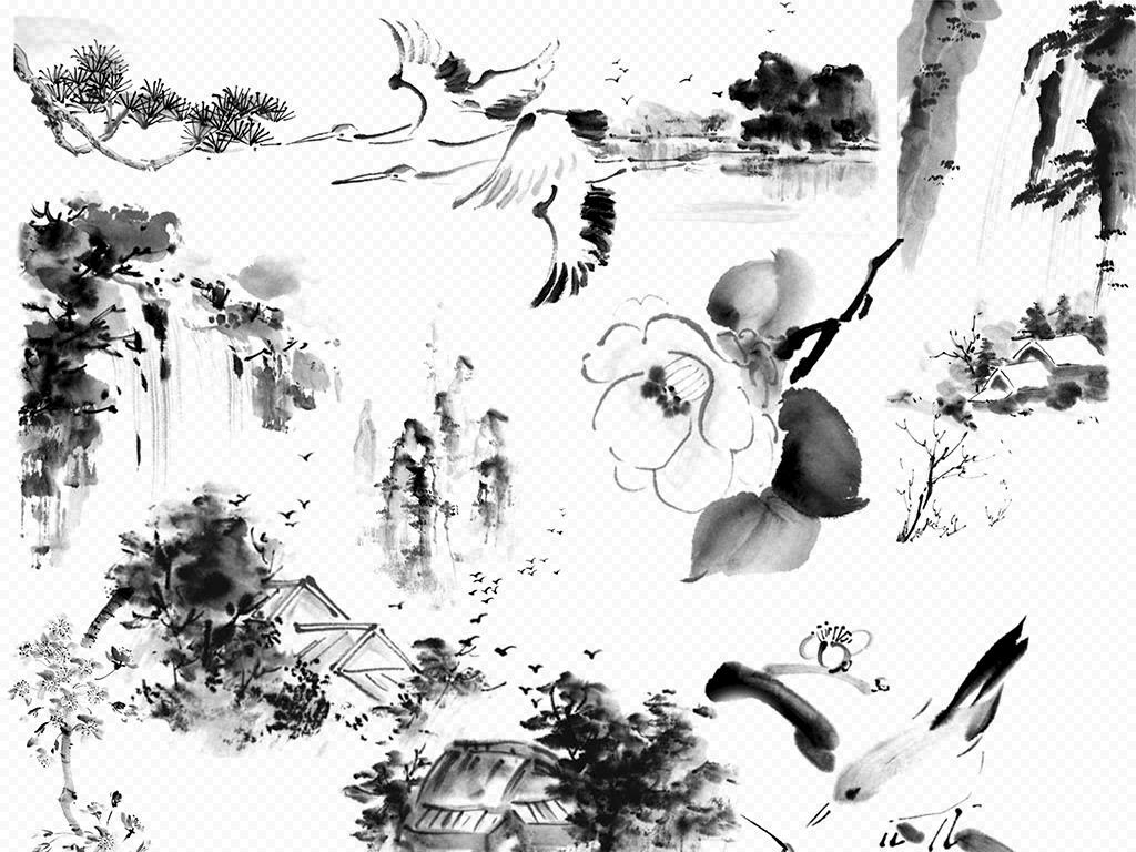 水墨梅花古典风中国风古风海报素材背景图图片 psd模板下载 81.88MB