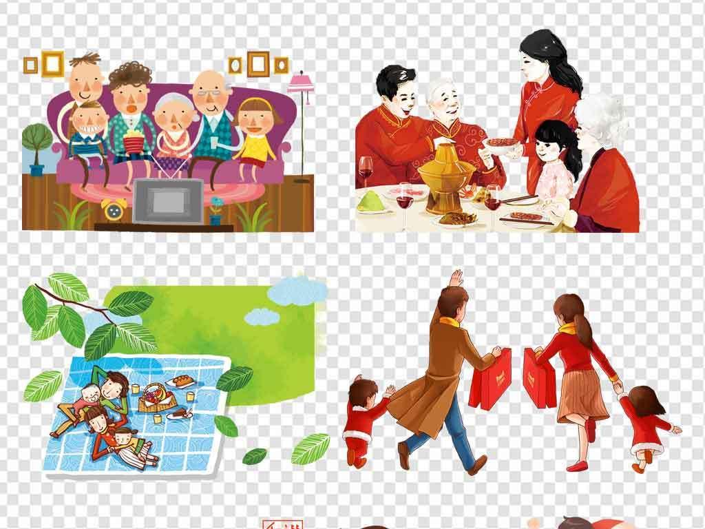 卡通手绘一家人全家福家庭幸福团圆素材背景