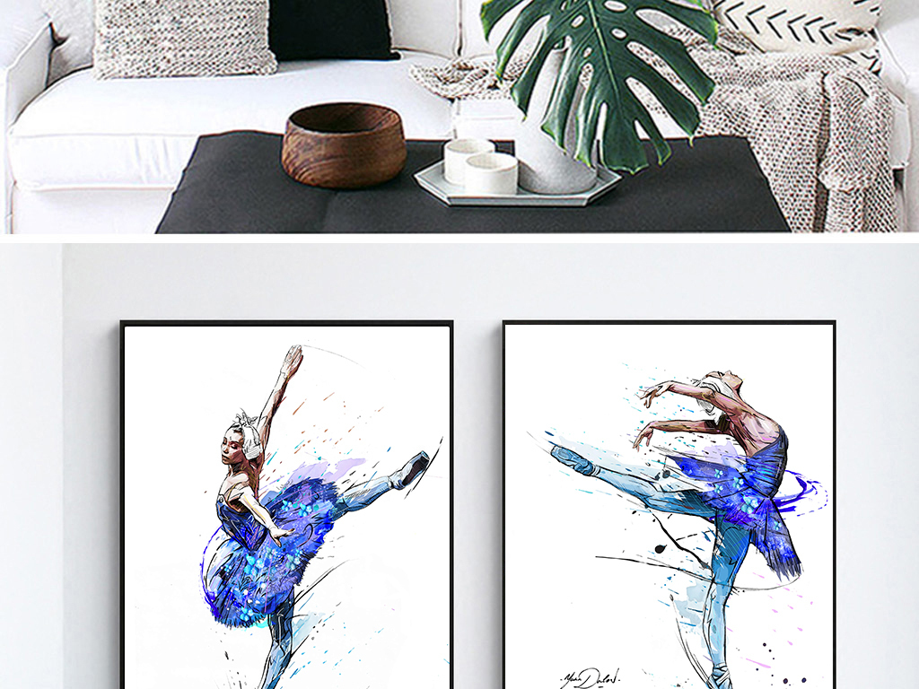 手绘芭蕾舞女孩装饰画
