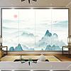 新中式意境抽象水墨山水情意客厅电视背景墙