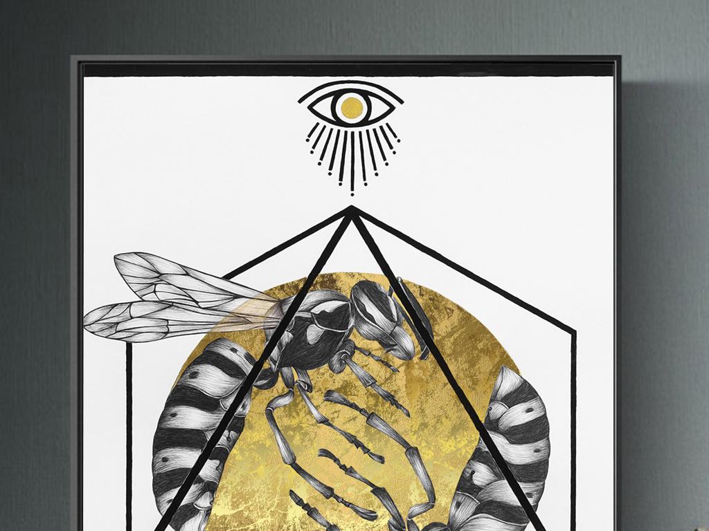 北欧简约抽象几何立体线条图案金箔昆虫后现代艺术装饰画2