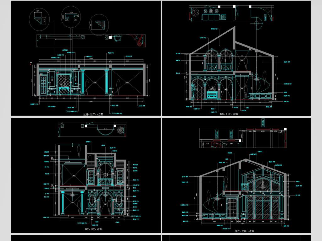 整体欧式复式别墅施工图平面设计图下载(图片4.62mb)图片