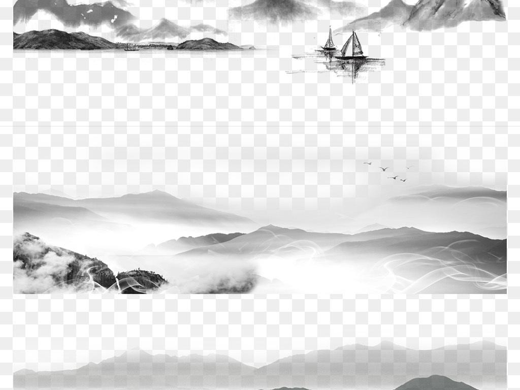 山峰中国风                                          手绘