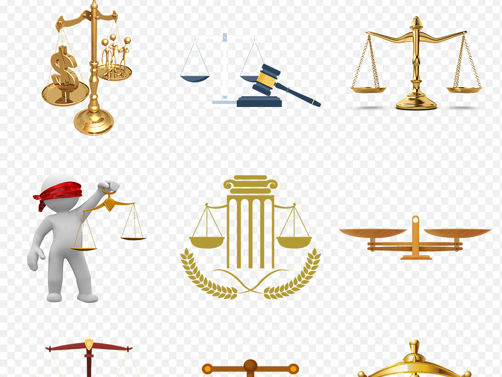 卡通手绘金色天平秤司法法制日公正海报素材背景图片png