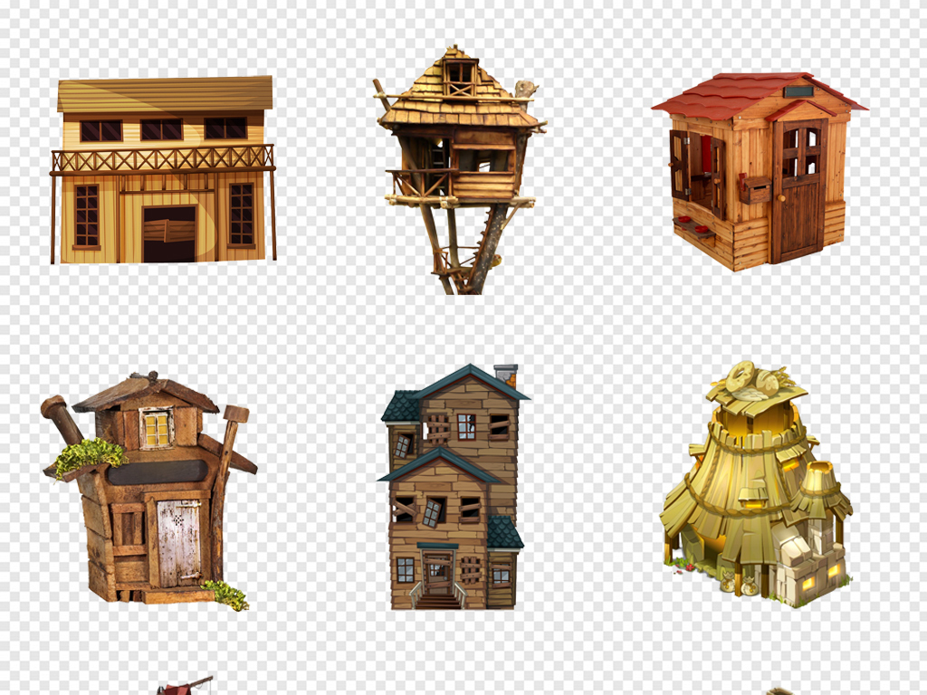 卡通手绘游戏小房子木屋房子建筑png素材
