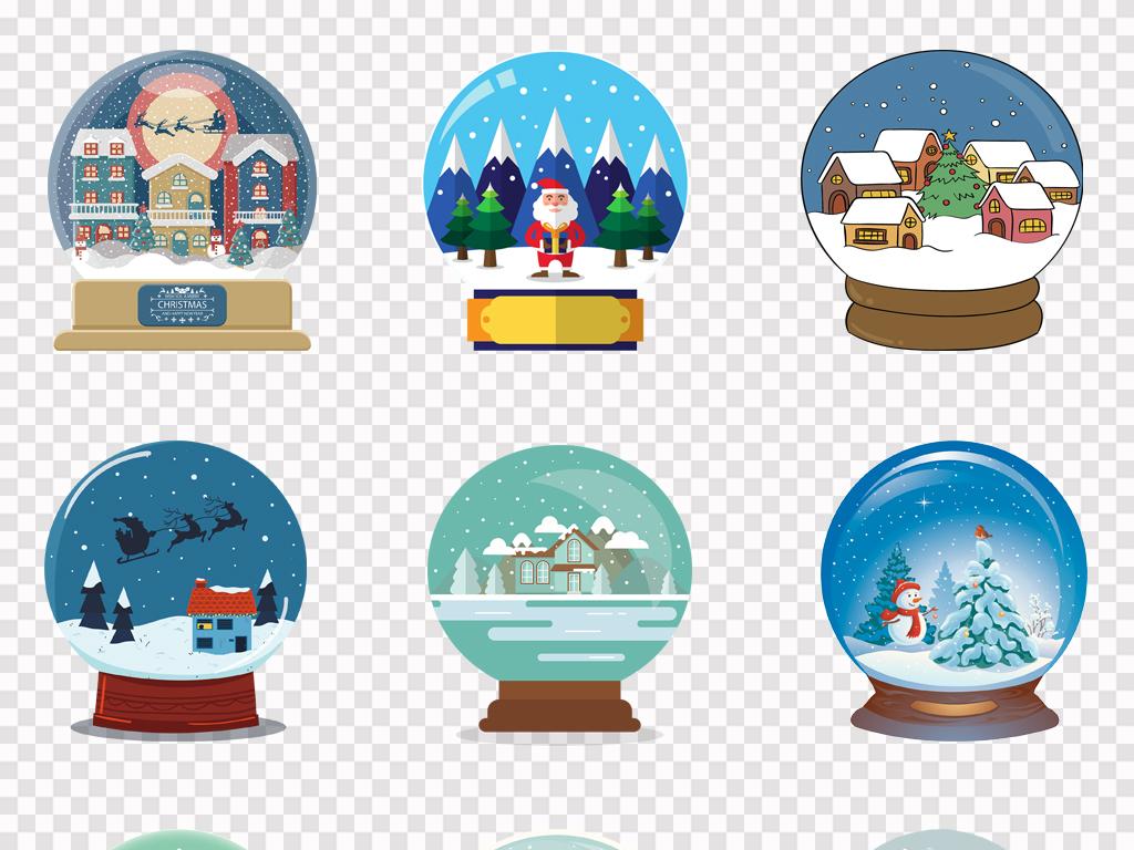 可爱卡通彩色水晶球手绘圣诞插画png素材
