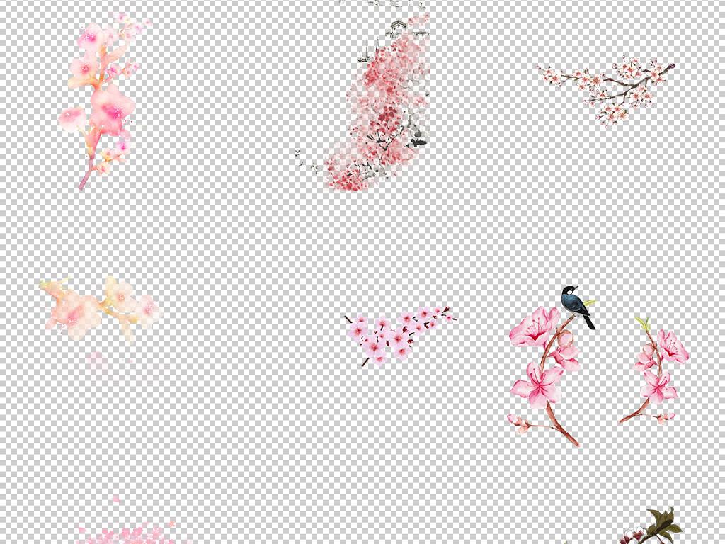 唯美古风水彩手绘粉色桃花桃树花朵花瓣花枝PNG素材图片 模板下载 43.74MB 花卉大全 自然