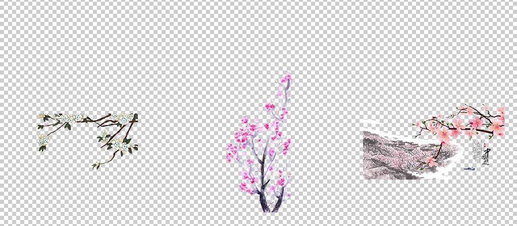 唯美古风水彩手绘粉色桃花桃树花朵花瓣花枝PNG素材1图片 模板下载 69.77MB 花卉大全 自然