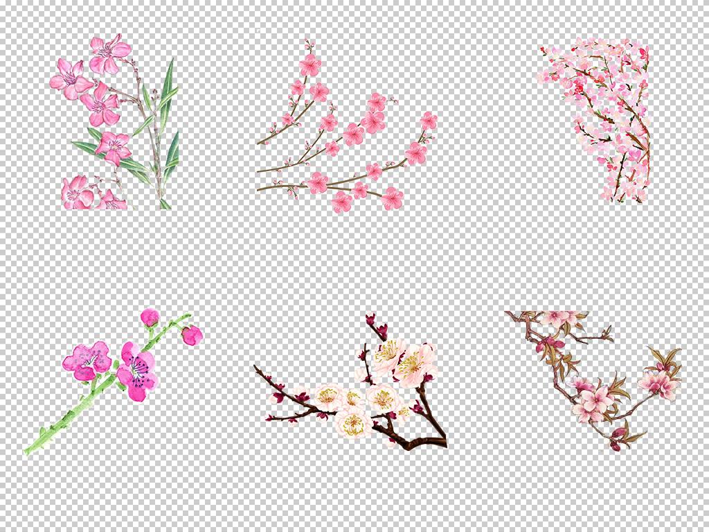 唯美古风水彩手绘粉色桃花桃树花朵花瓣花枝png素材2