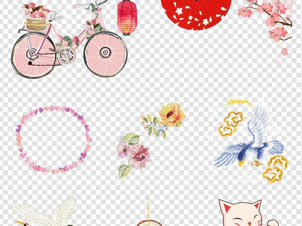 日系边框日本旅游素材手绘元素文艺唯美背景