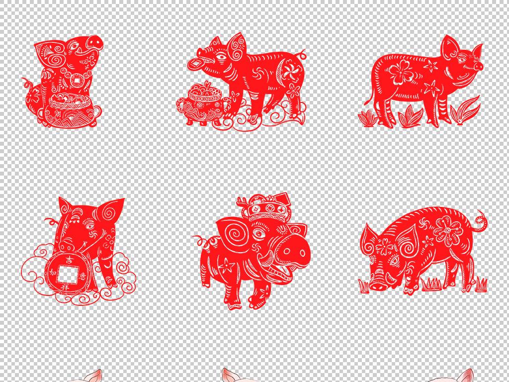 2019春节猪年手绘猪可爱形象元素png
