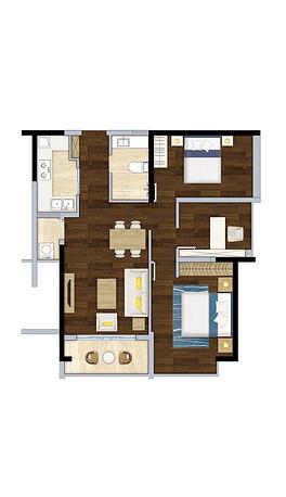 PSD两室一厅cad PSD格式两室一厅cad素材图片 PSD两室一厅cad设计模板 我图网