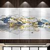 新中式意境金色山川富贵山水生财背景墙壁画