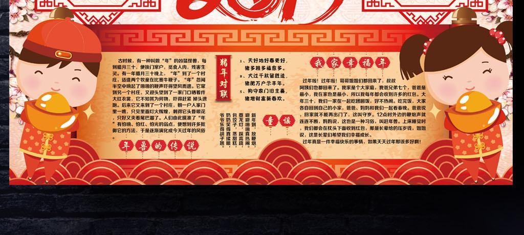 2019年春节小报猪年元旦新年寒假信纸手抄小报素材图片