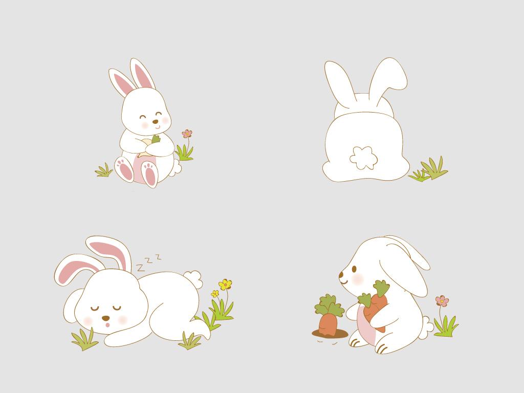 可爱卡通手绘兔子动物海报背景矢量素材