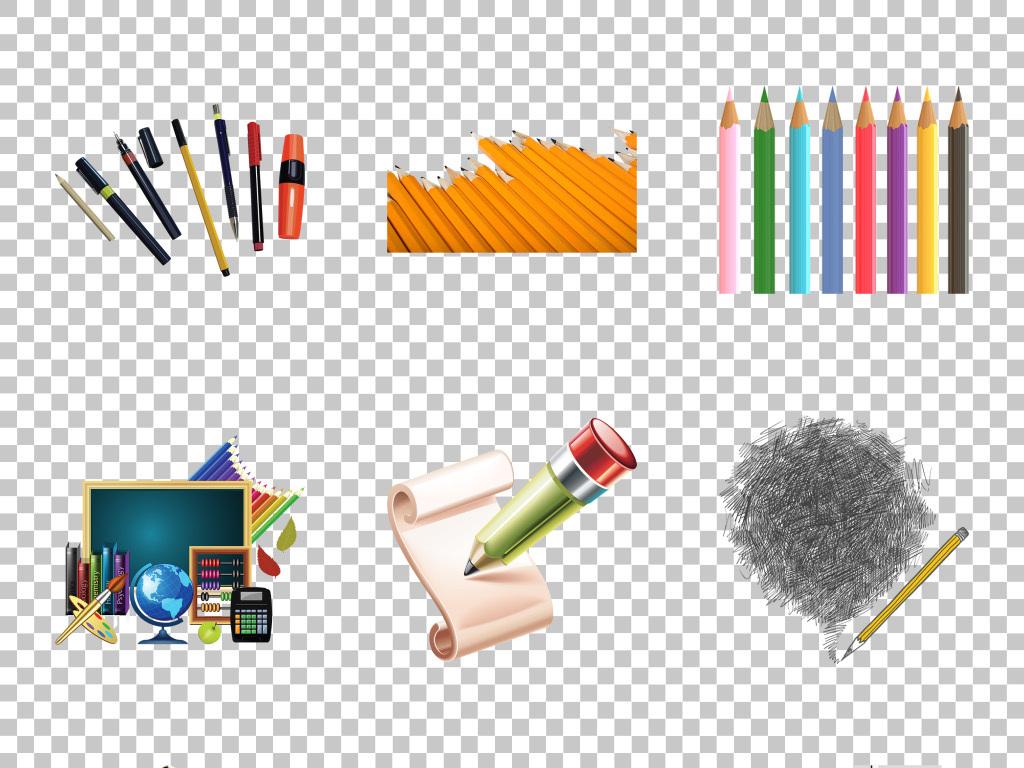 手绘卡通学习用品文具铅笔免抠png素材