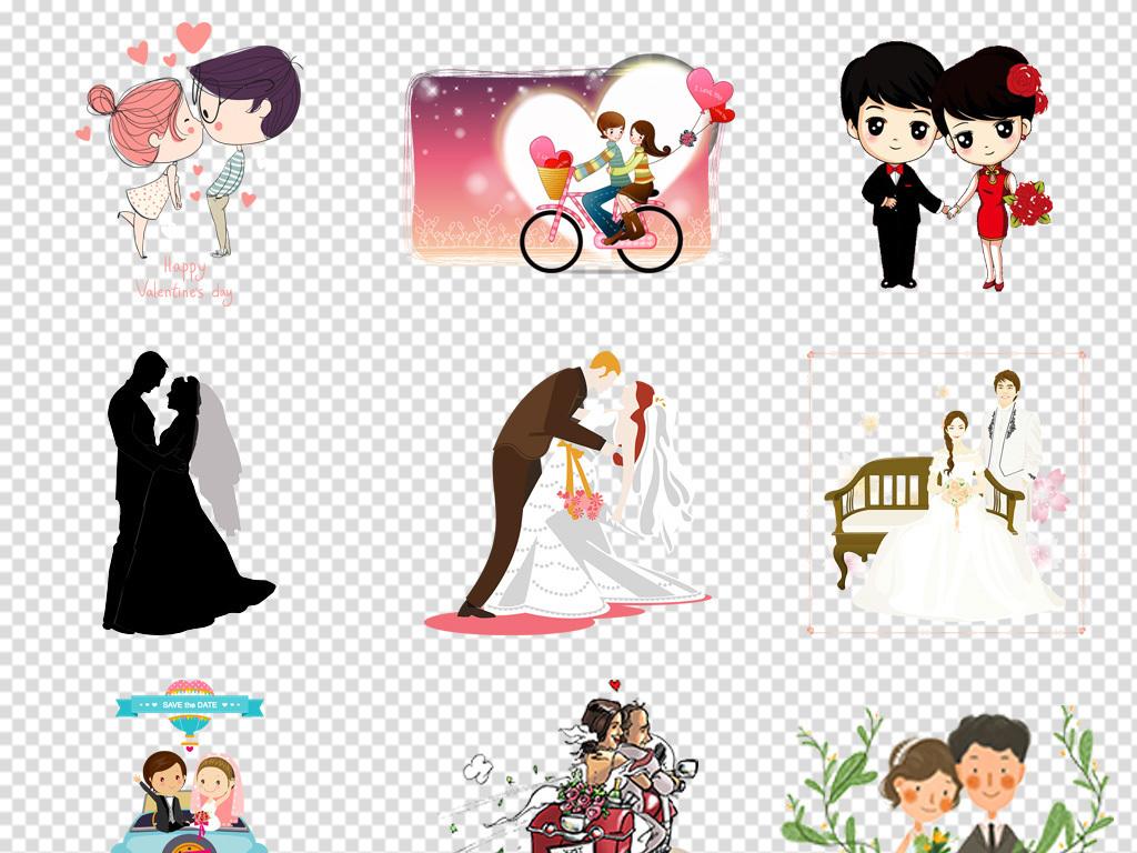 情侣卡通图片婚礼结婚甜蜜恩爱求婚结婚照情人手牵手接吻情侣