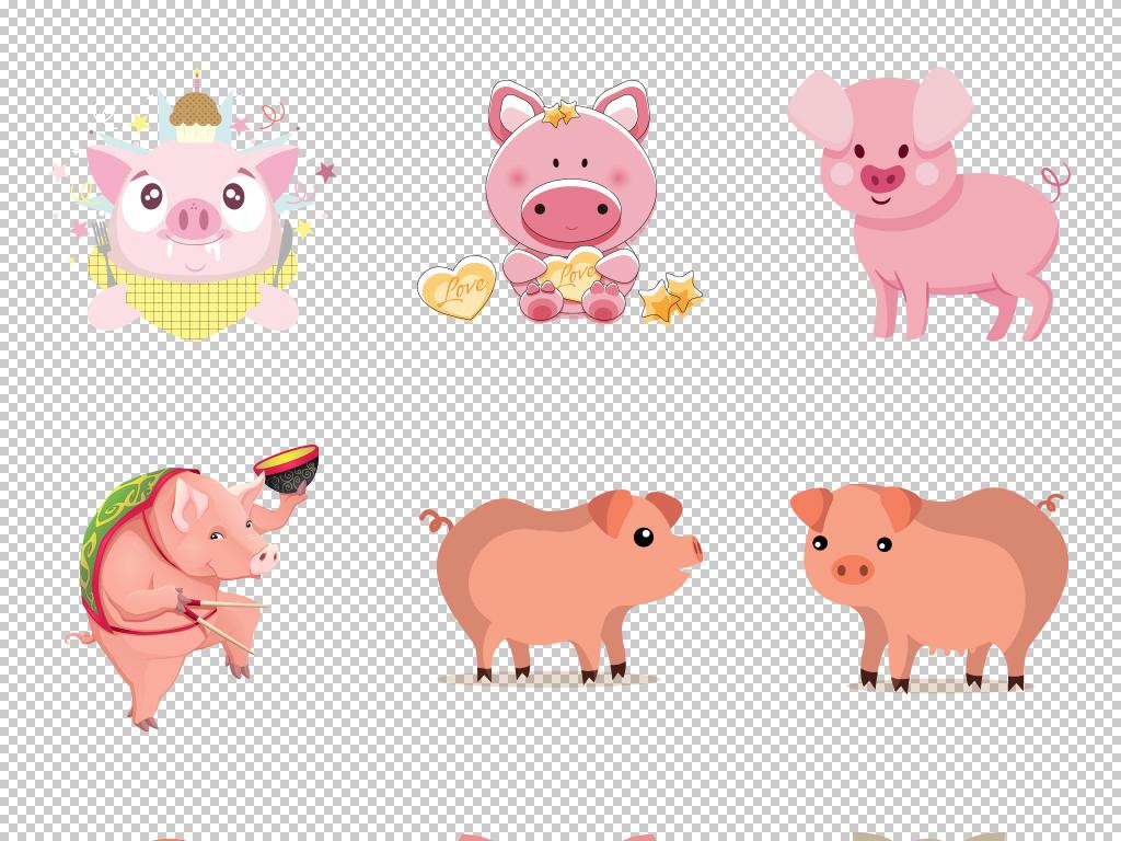 手绘简笔画情新年素材猪年素材可爱卡通可爱生肖卡通素材卡通可爱可爱