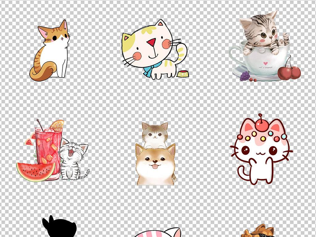 可爱卡通手绘猫宠物猫咪猫头海报背景png素材