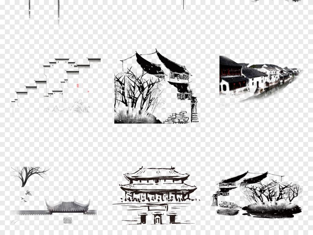 中国风手绘江南水乡淡彩水墨古建筑海报png背景