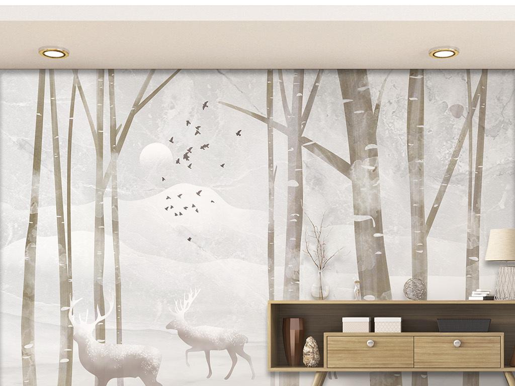 北欧风简约手绘丛林麋鹿电视背景墙图片设计素材 高清psd模板下载