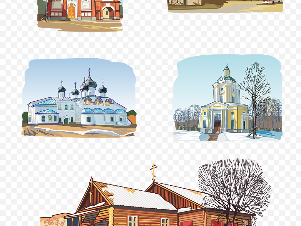 免抠元素 生活工作 城市建筑 > ai png卡通手绘教堂免抠素材  素材