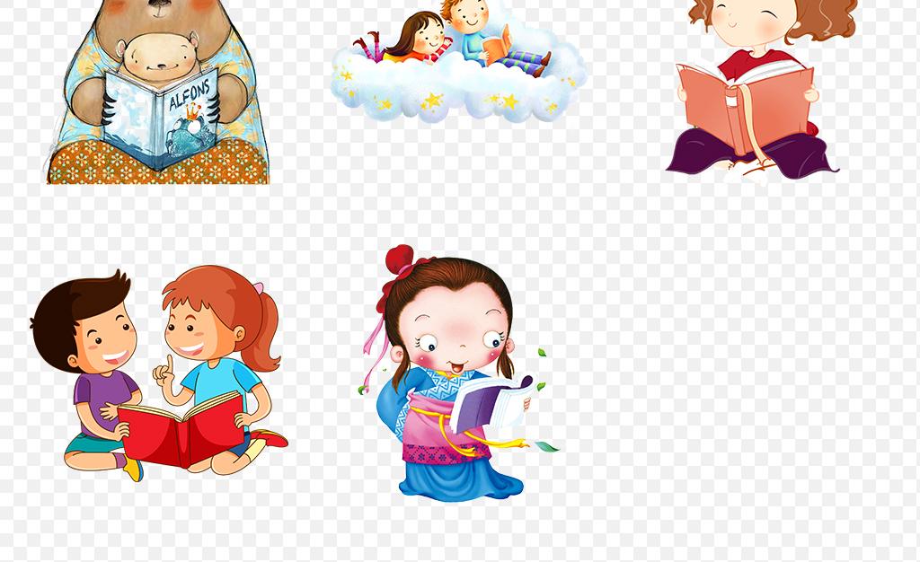 卡通手绘读书看书阅读书本儿童海报素材背景图片png