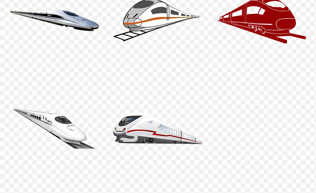 卡通手绘火车动车高铁海报素材背景图片png