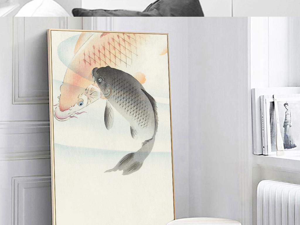 古风手绘民俗锦鲤鱼中式装饰画图片设计素材 高清模板下载 96.02MB 民俗装饰画大全图片