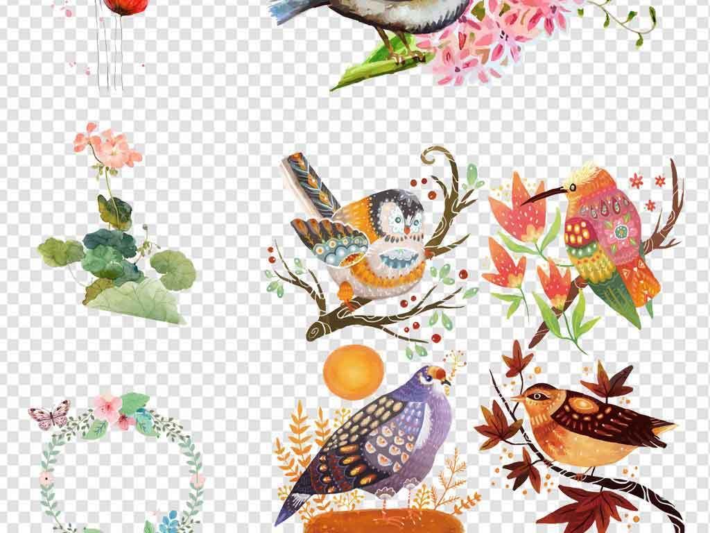 清新手绘花卉小鸟蝴蝶绿叶树叶边框背景素材