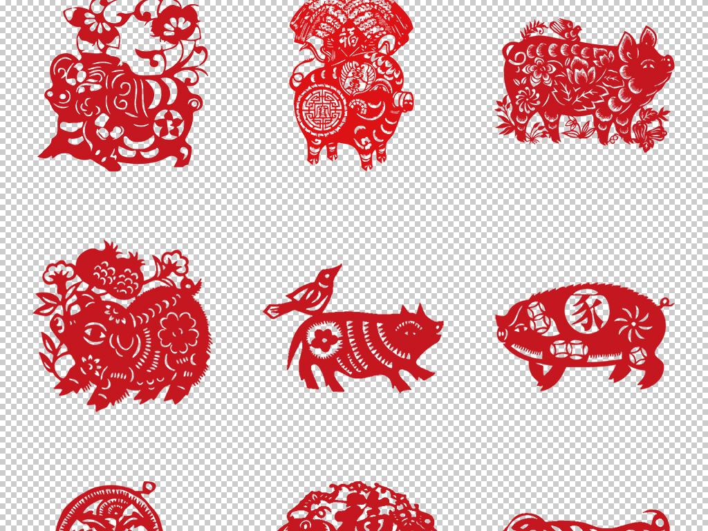 免抠元素 节日素材 元旦丨春节丨元宵 > 2019猪年春节剪纸窗花中国风
