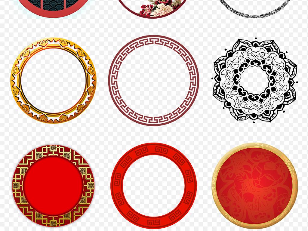 水墨中国风圆环中式圆形边框窗花海报素材背景图片png