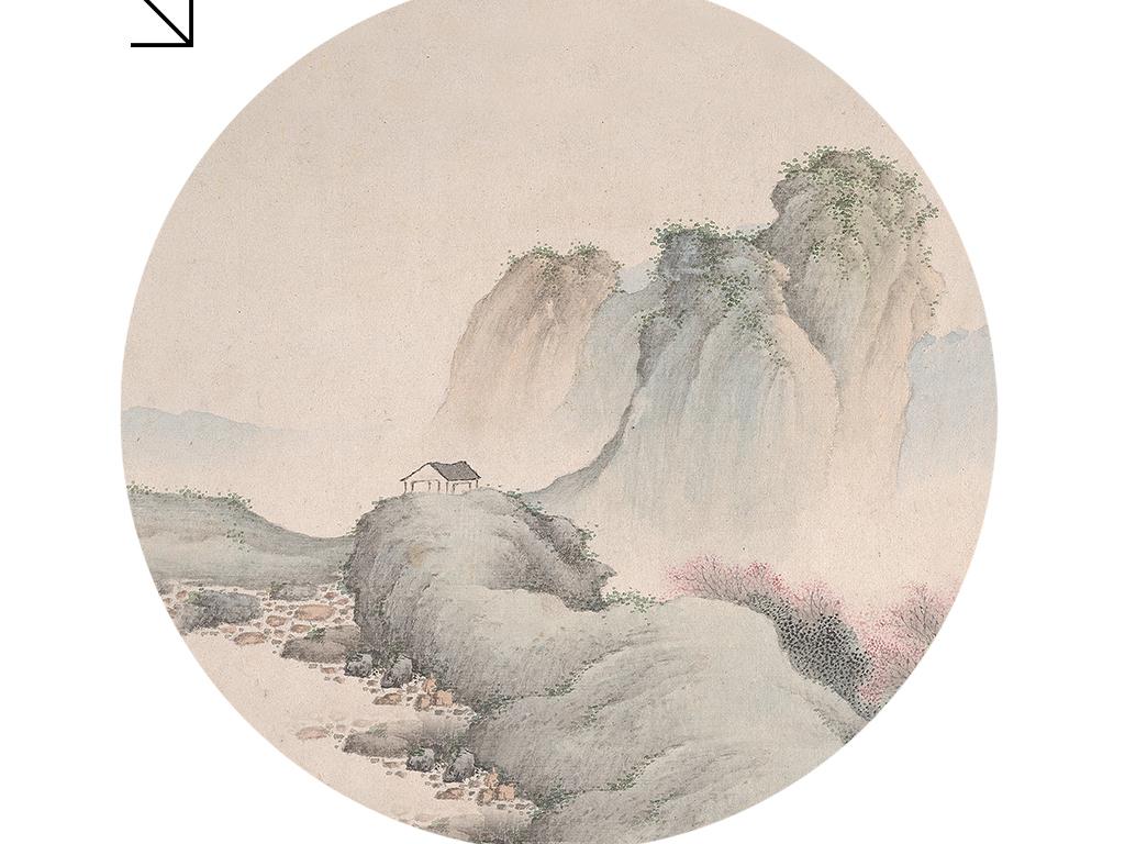 新中式圆形中国画山水客厅书房卧室装饰画图片下载 山水装饰画大全 新中式装饰画编号 18930715