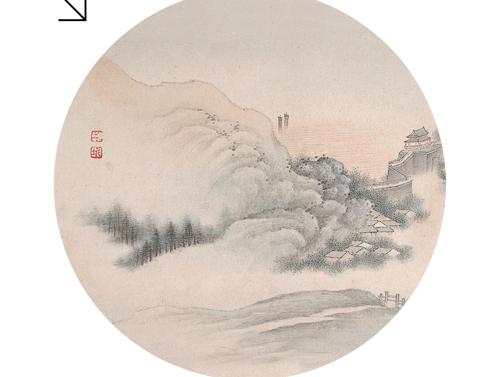 新中式圆形中国画山水客厅书房卧室装饰画图片下载 山水装饰画大全 新中式装饰画编号 18930716