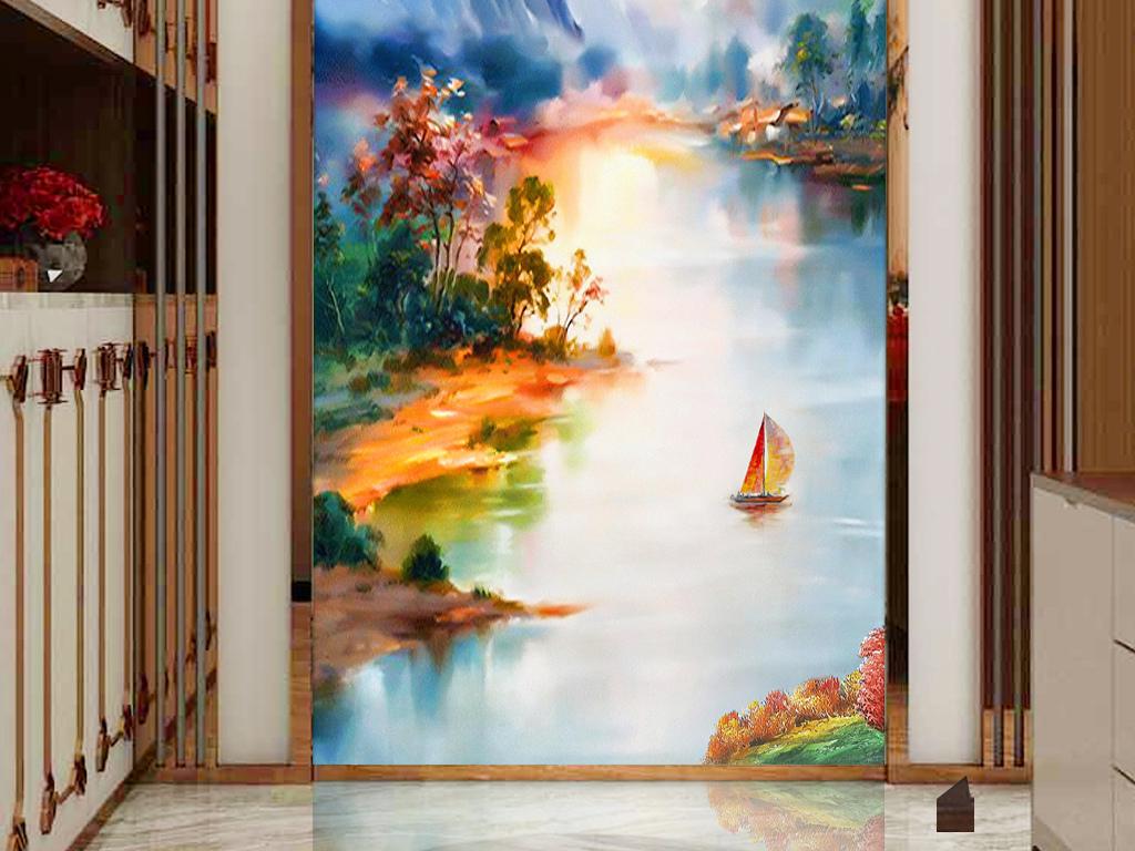 手绘新中式现代抽象油画山水风景玄关背景墙
