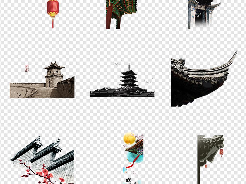 中国风古风手绘建筑屋顶屋檐png素材
