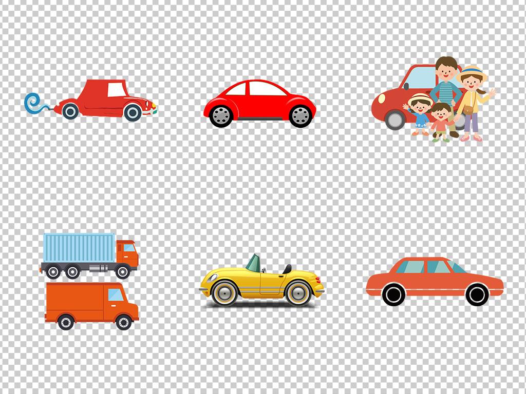卡通手绘汽车轿车剪影自驾游png免扣素材