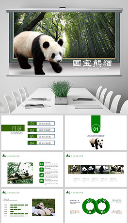 野生动物国宝大熊猫动物保护公益宣传PPT模板-PPTX保护动物宣传