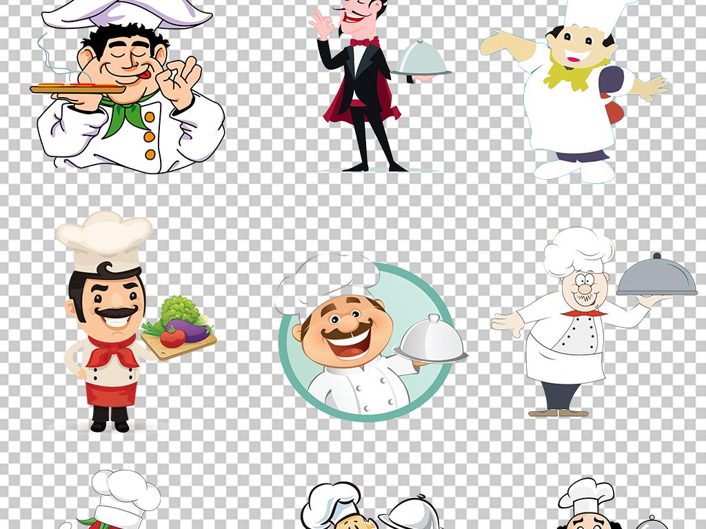 卡通手绘厨师服务员美食餐饮海报素材