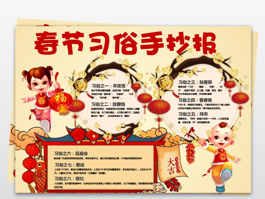 手抄报|小报 节日手抄报 春节|元旦手抄报 > 2019年春节民俗小报猪年图片
