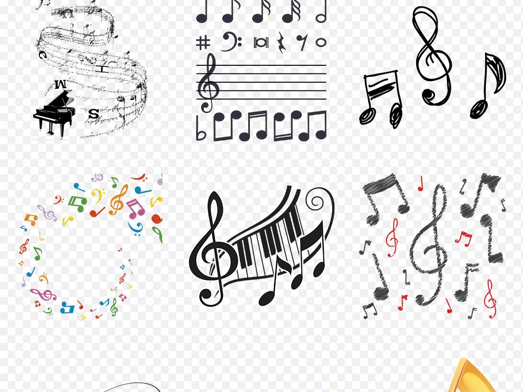 卡通手绘彩色黑白音乐音符海报素材背景图片png