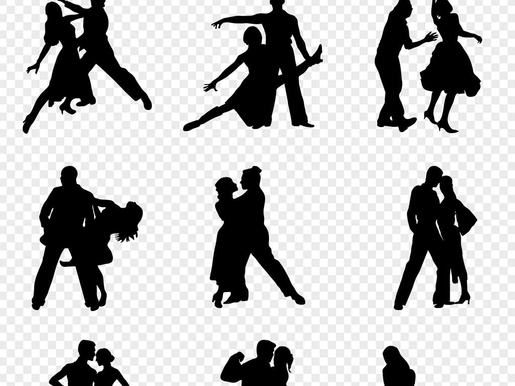 素材手绘卡通剪影人物素材舞蹈室剪影拉丁舞舞蹈剪影舞蹈素材剪影素材