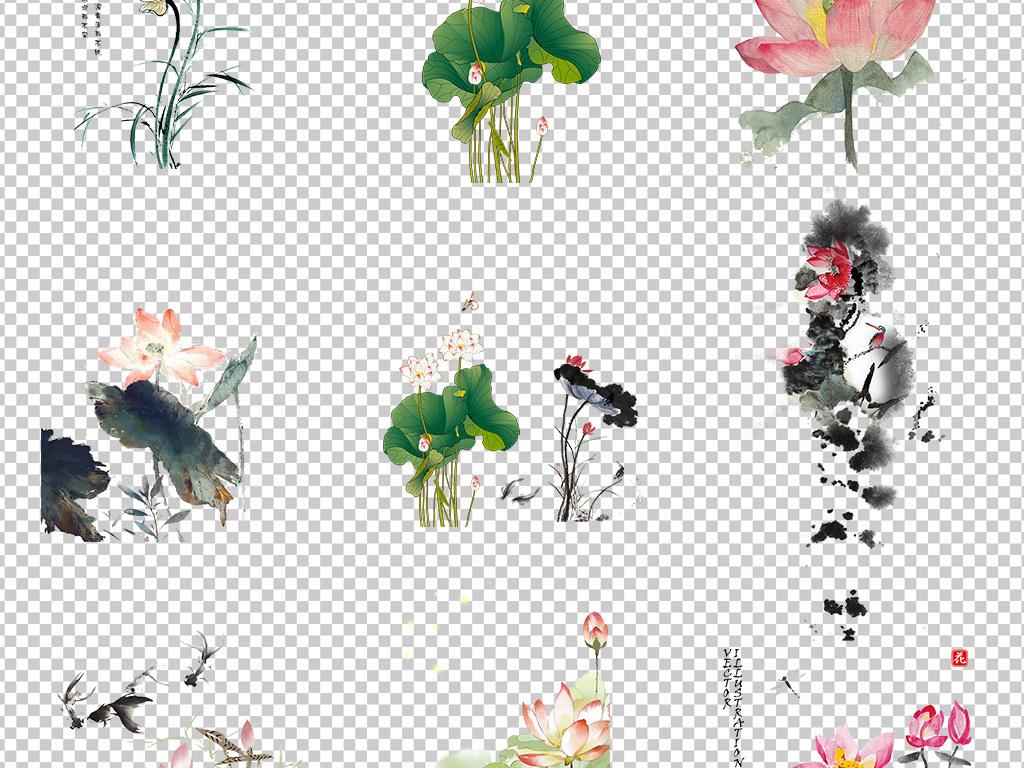 简笔画鲤鱼水墨画装饰图水中荷花莲花莲子花朵荷花剪纸古风手绘