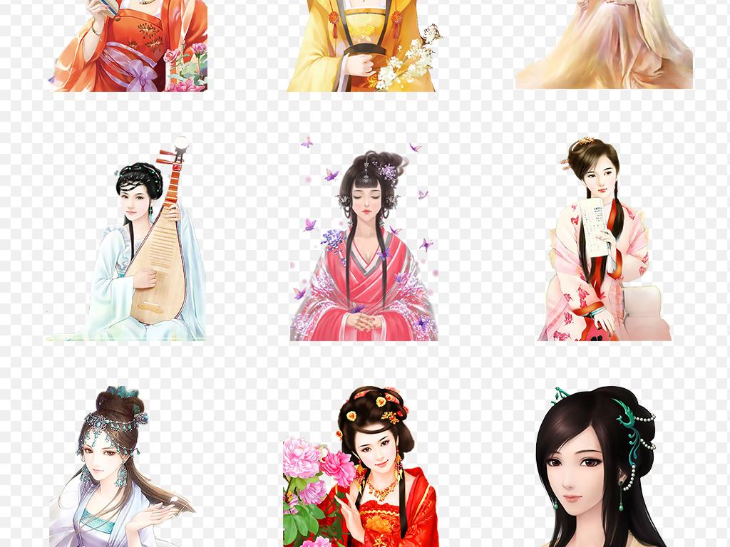 中国风古代美女古风古装古典人物海报素材背景图片png