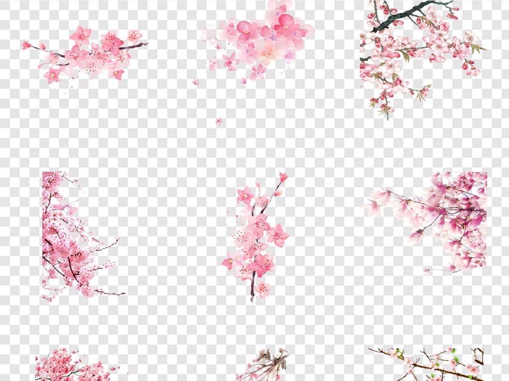 唯美古风水彩手绘粉色桃花桃树花朵花瓣花枝