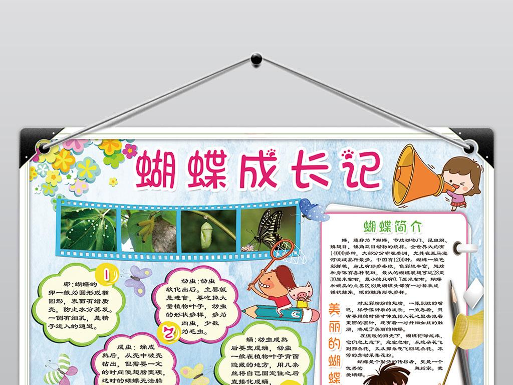 蝴蝶成长记小报昆虫小动物电子手抄报素材