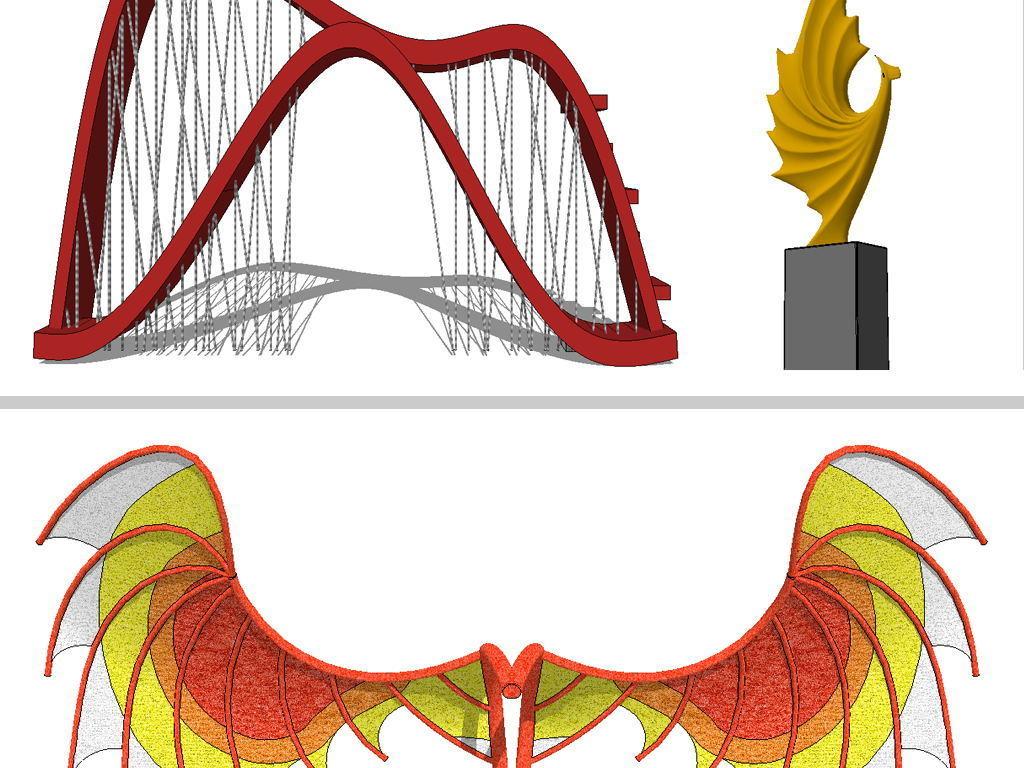 现代创意城市雕塑su模型设计图下载(图片13.46mb)_库