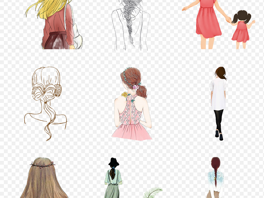 卡通手绘女孩彩绘人物背影文艺海报素材背景图片png
