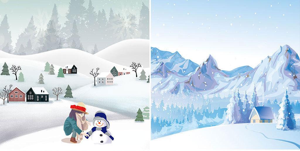 卡通手绘温馨冬季雪景雪人海报展板PSD模板图片设计素材 高清psd下
