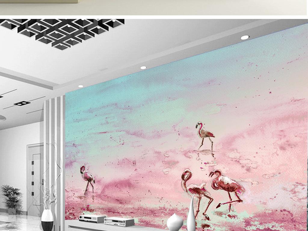 唯美手绘水彩画火烈鸟背景墙壁画